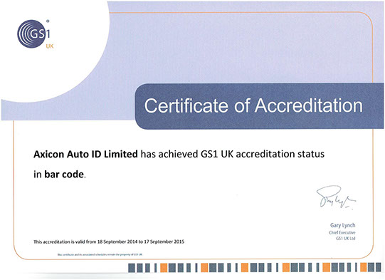Axicon GS1 certifcate of accreditation